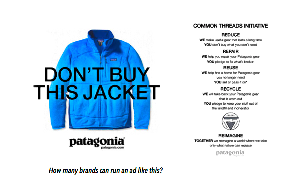 Patagonia ad review for Seth's modern marketing class